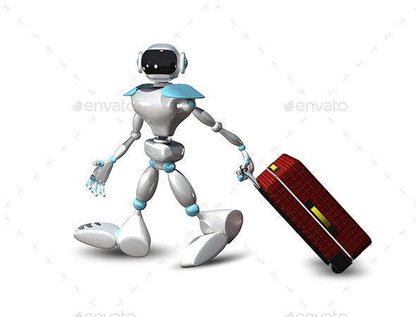 3D Illustration of a Robot with a Suitcase - Characters 3D Renders