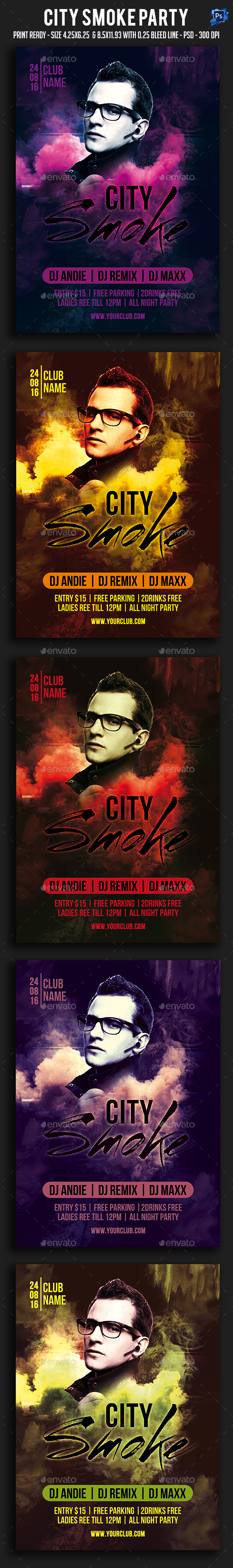 City Smoke Party Flyer - Clubs & Parties Events