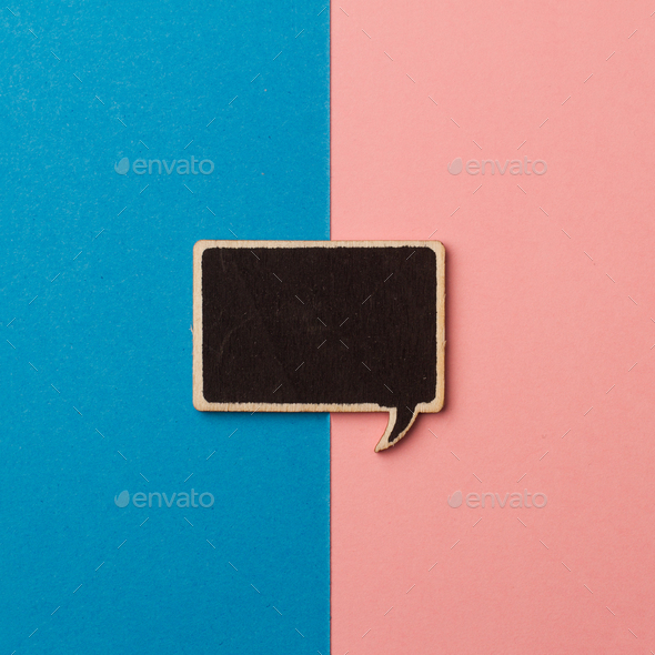 square empty chalkboard wooden speech bubble on pink and blue - Stock Photo - Images