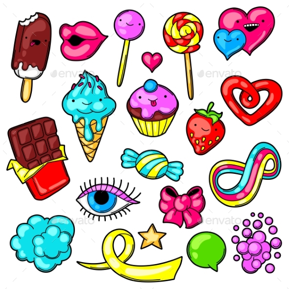 Set of Kawaii Sweets and Candies - Miscellaneous Characters