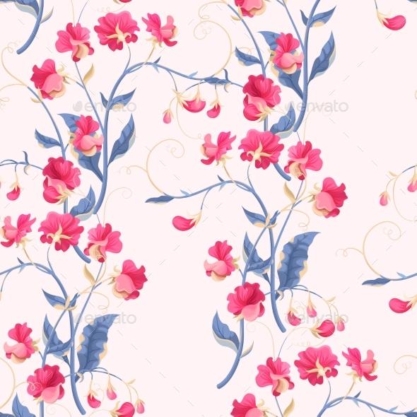 Seamless Sweetpea Flowers - Flowers & Plants Nature