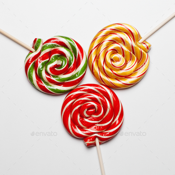 Colorful Sweet Lollipops For Children On White Background - Stock Photo - Images