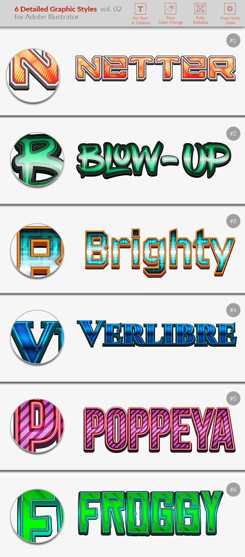 6 Detailed Graphic Styles for Illustrator vol. 02 - Styles Illustrator