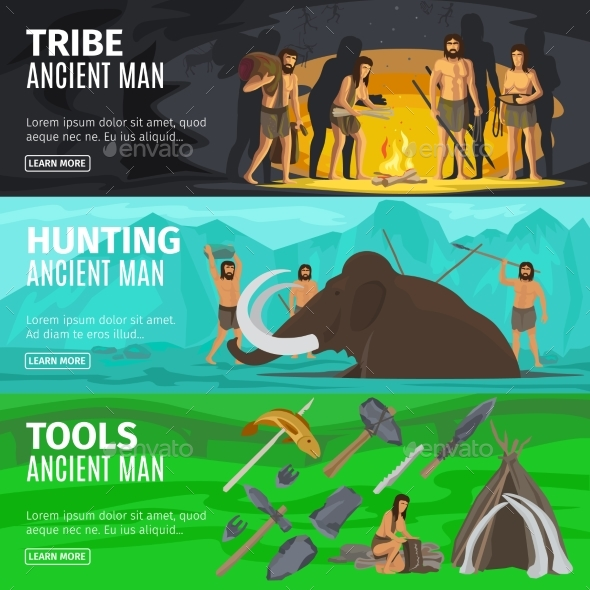 Stone Age Caveman Evolution Banners - People Characters