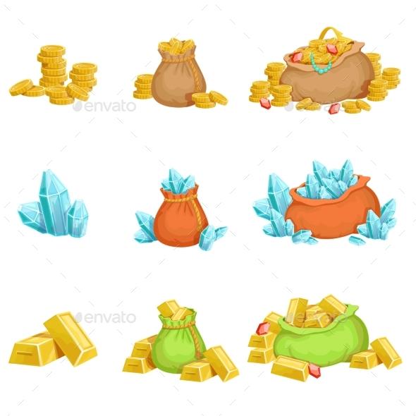 Treasure And Riches Set OF Game Design Elements - Web Elements Vectors