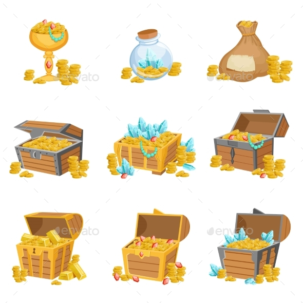 Treasure and Riches Set of Graphic Design Elements - Web Elements Vectors