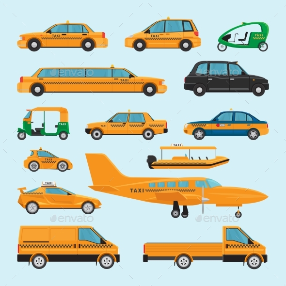 Taxi Different Types Icons - Travel Conceptual