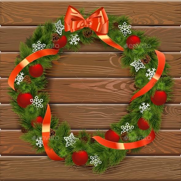 Christmas Wreath on Wooden Board 7 - Christmas Seasons/Holidays