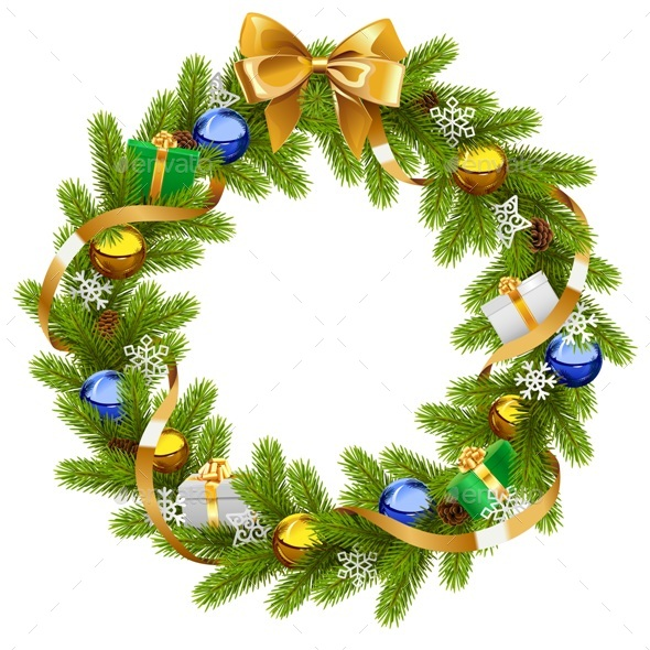 Vector Fir Wreath with Golden Ribbon - Christmas Seasons/Holidays
