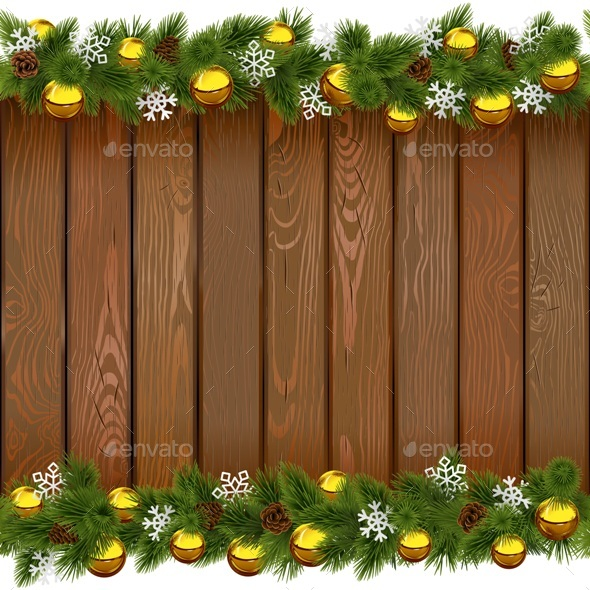 Vector Seamless Christmas Board with Golden Balls - Christmas Seasons/Holidays