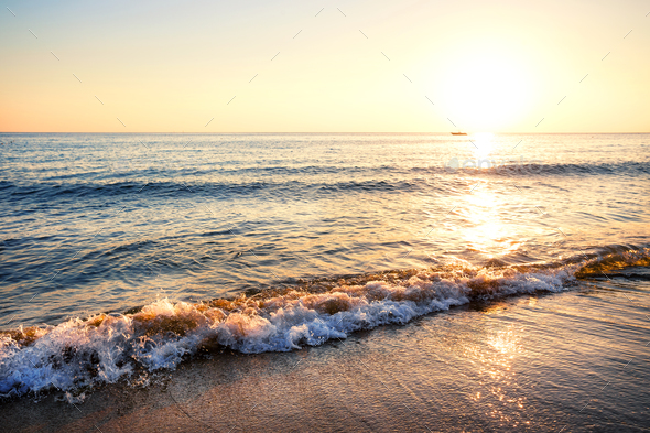 Sandy beach with waves - Stock Photo - Images