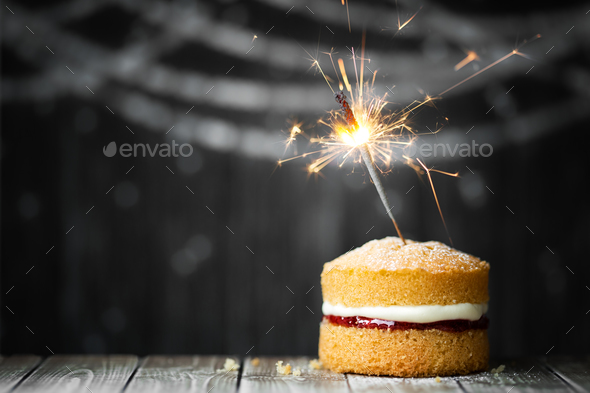 Amazing Birthday Cake With Sparkler Stock Photo By Ruthblack Photodune Funny Birthday Cards Online Fluifree Goldxyz