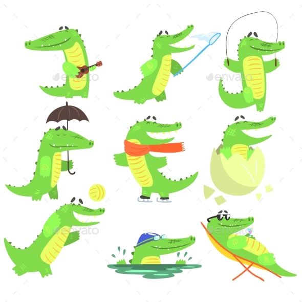 Humanized Crocodile Character Every Day Activities - Sports/Activity Conceptual