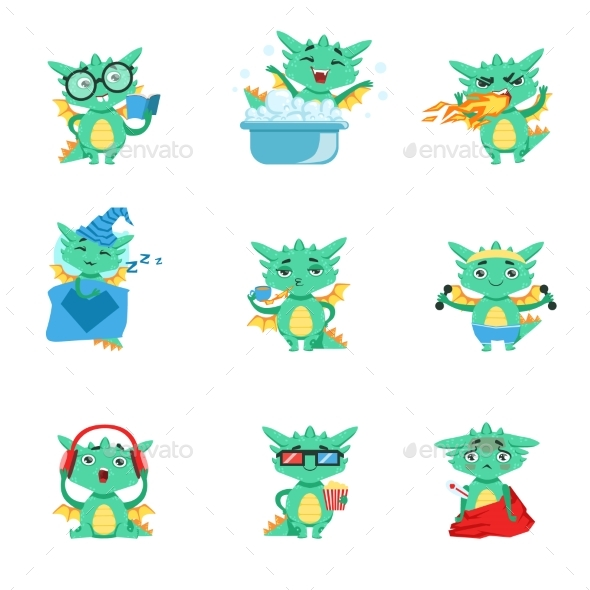 Little Dragon Everyday Activities And Emotions Set - Animals Characters