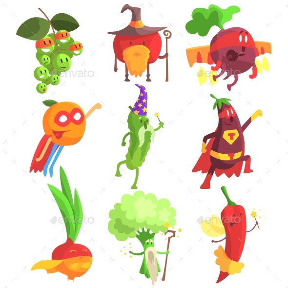 Silly Fantastic Fruit And Vegetable Characters Set - Monsters Characters