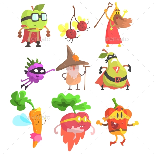 Silly Fantasy Fruit And Vegetable Characters Set - Food Objects