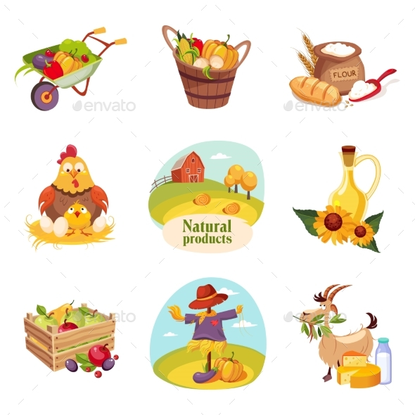 Farm Products and Animals Set of Bright Stickers - Miscellaneous Vectors