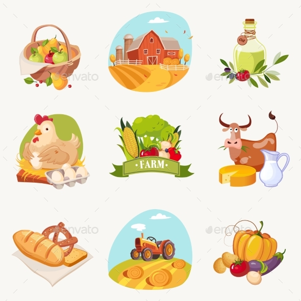 Farm Related Objects Set Of Bright Stickers - Food Objects