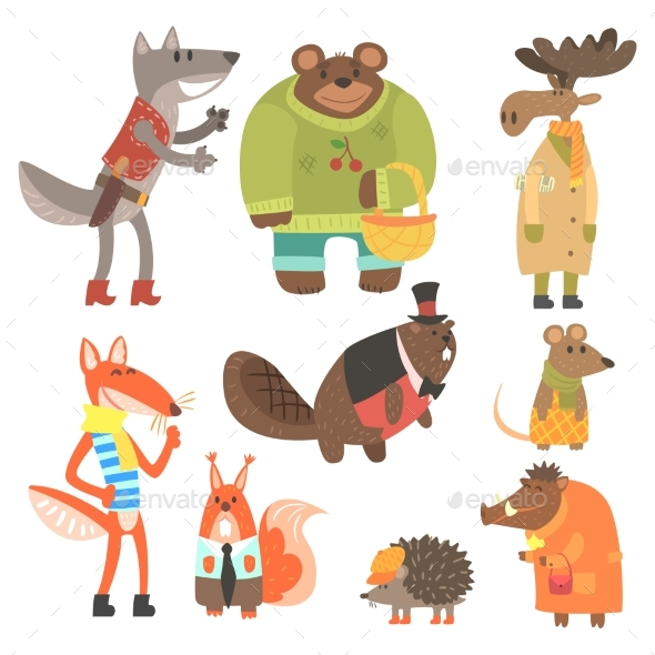 Forest Animals Dressed In Human Clothes Set - Animals Characters
