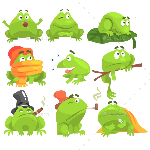 Green Frog Character Set - Animals Characters