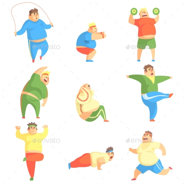 Chubby Man Character Doing Gym Workout Set - People Characters