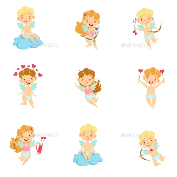 Baby Cupids with Bows, Arrows and Hearts Set - People Characters