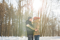 Happy Young Couple in Winter Park having fun. Family Outdoors. love - PhotoDune Item for Sale