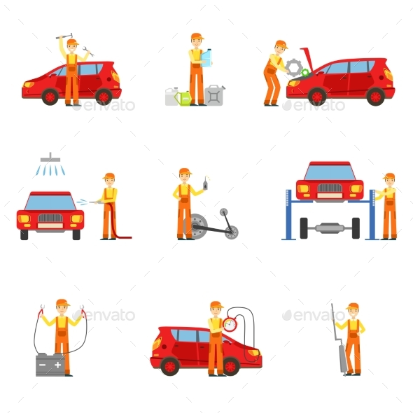 Car Repair Workshop Services Set of Illustrations - Services Commercial / Shopping