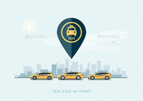 Parking Taxi Cars in a Row - Services Commercial / Shopping