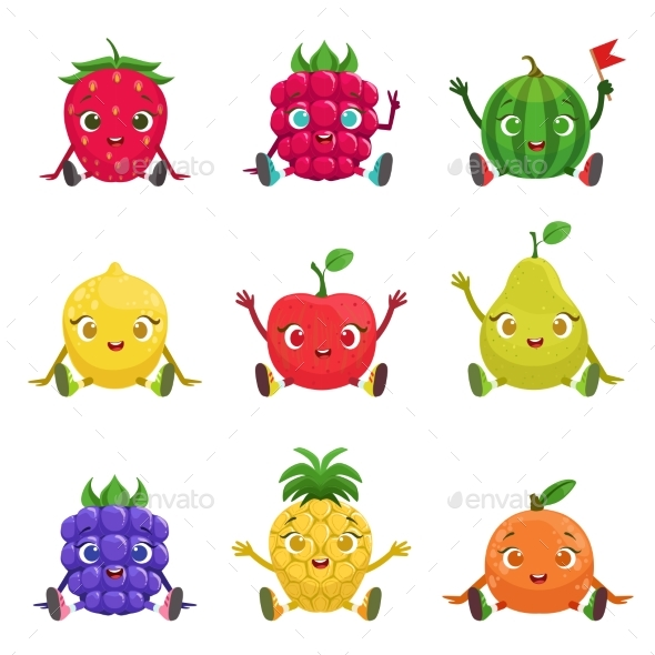Fruit and Berries Characters Sitting - Food Objects