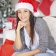 Smiling Pretty Woman Celebrating Christmas At Home - VideoHive Item for Sale