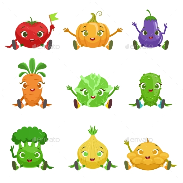 Vegetables Characters Sitting - Food Objects