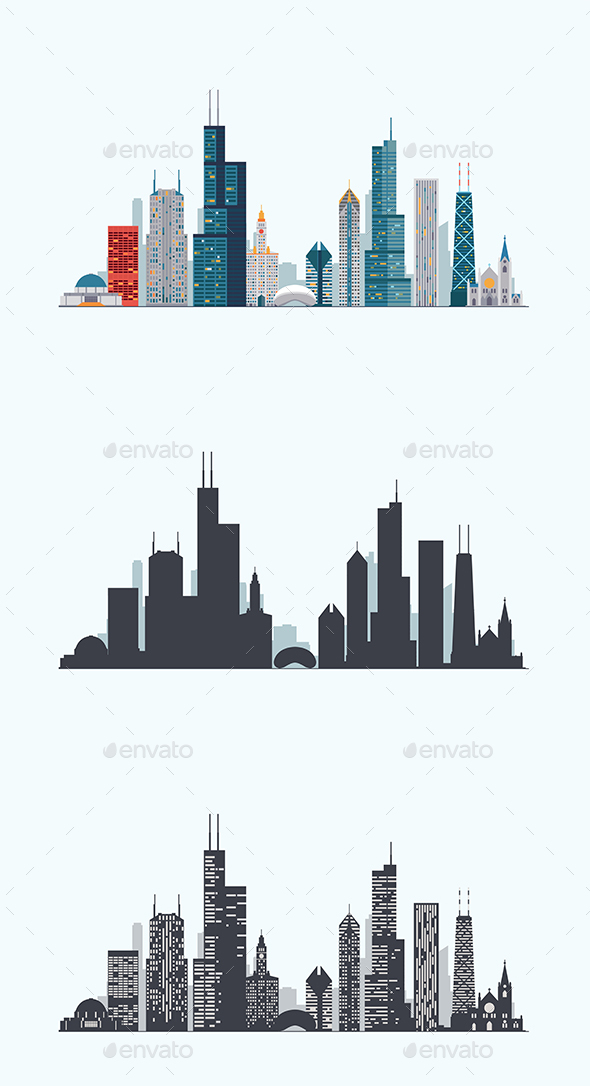 Chicago Skyline - Buildings Objects