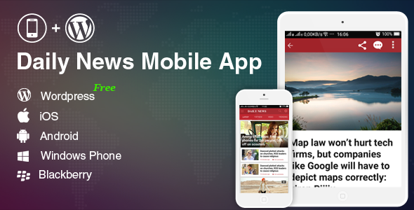 Mobile Application for Wordpress Blog, News Website - Wordpress Mobile App - CodeCanyon Item for Sale