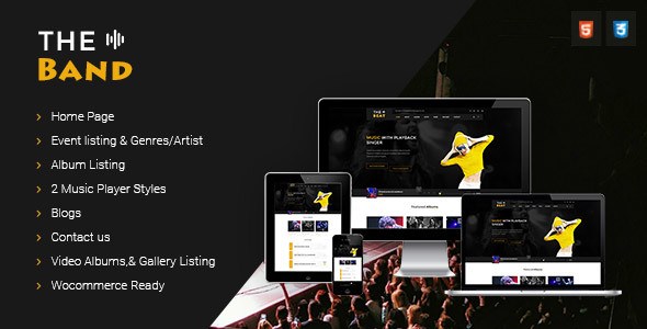 HTML Music Website Templates from ThemeForest