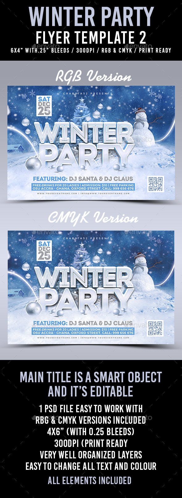Winter Party Flyer Template 2 - Flyers Print Templates