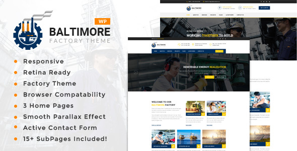 Baltimore Factory – Factory & Industrial Business WordPress Theme