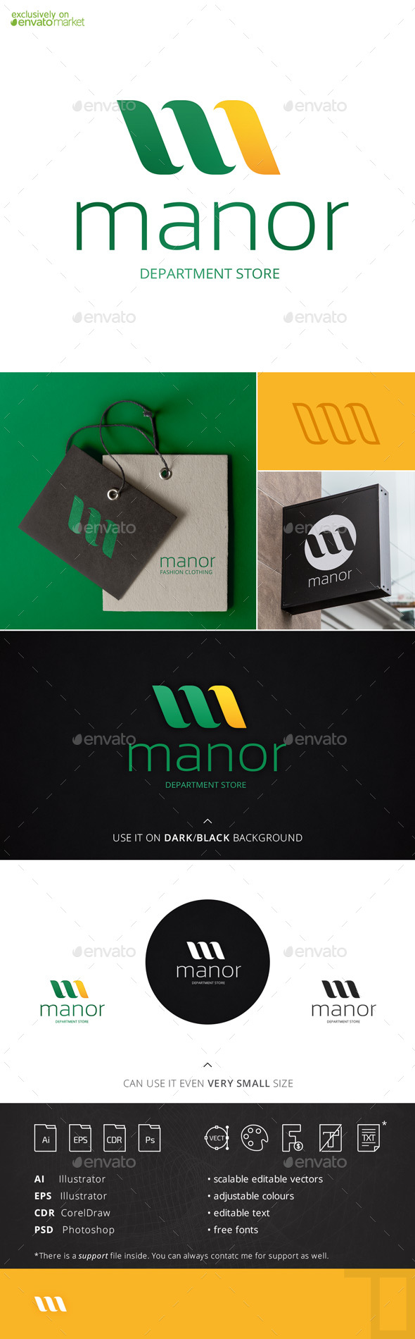 Manor Letter M Logo Template - Letters Logo Templates