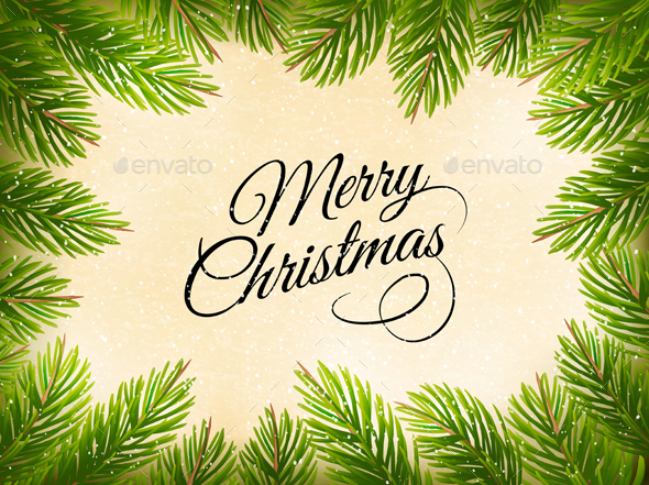 Christmas Retro Background with Tree Branches Vector - Christmas Seasons/Holidays