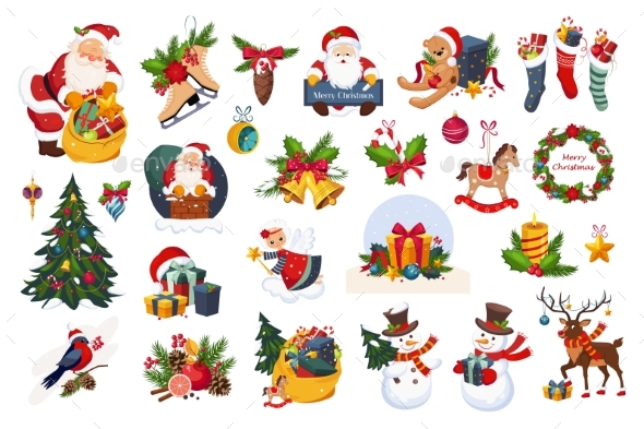 Classic Christmas Stickers on White - New Year Seasons/Holidays