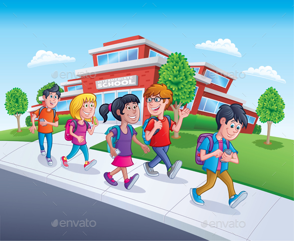 School Kids Walking From School - People Characters