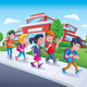 School Kids Walking From School - GraphicRiver Item for Sale