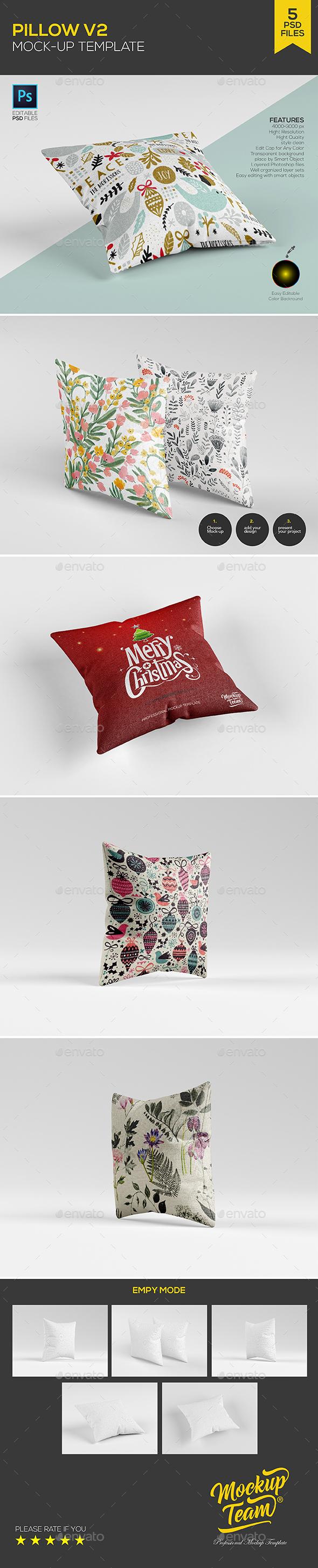 Pillow Mock-up Template (5 PSD) - Product Mock-Ups Graphics