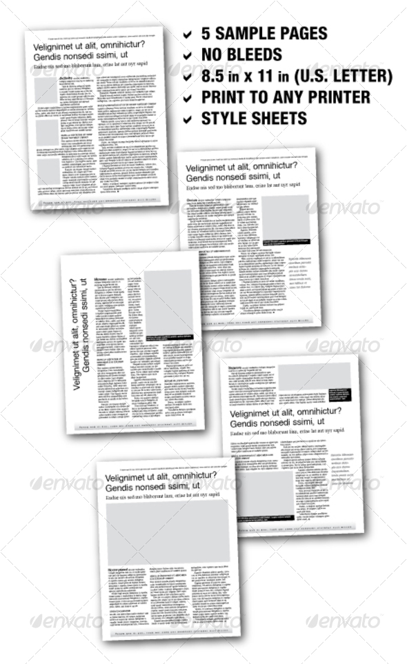 U.S. Letter Editorial Samplers 02 (5 pages) - Newsletters Print Templates
