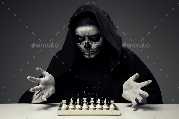 "Concept ""Playing With Death"". Woman In Realistic Skull Makeup - Stock Photo - Images"