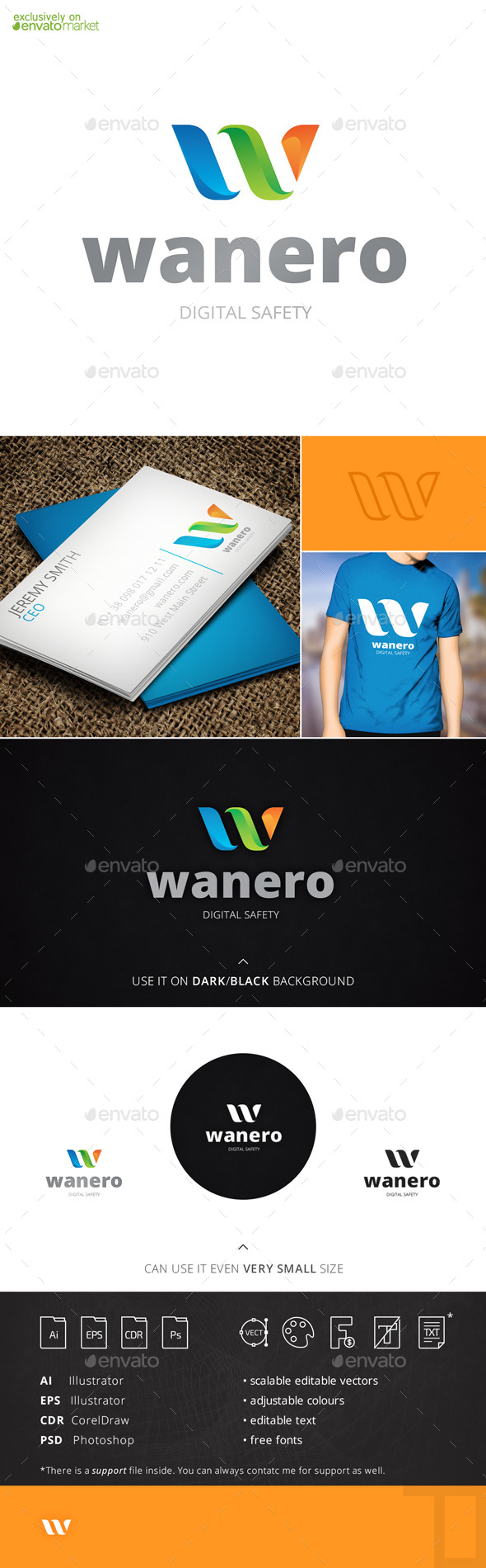 Wanero Letter W Logo Template - Letters Logo Templates