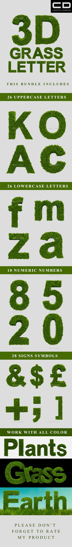 3d Grass Letters - Graphics