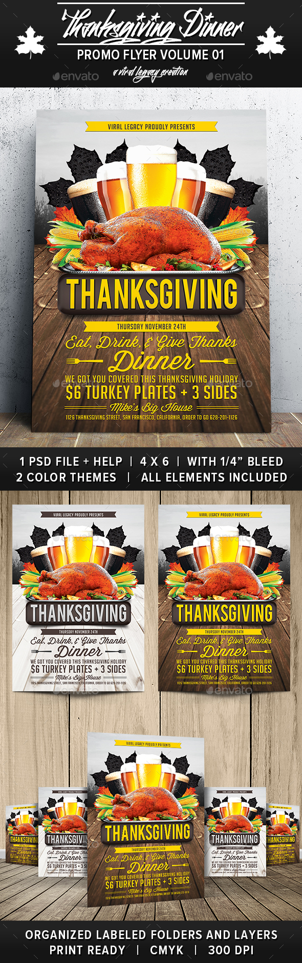 Thanksgiving Dinner V01 - Flyers Print Templates