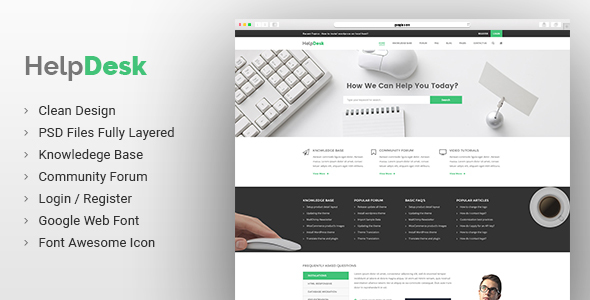Helpdesk | Knowledge Base | Wiki | FAQ PSD Template - Corporate PSD Templates