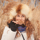 Portrait of one young woman in a meadow in winter - PhotoDune Item for Sale